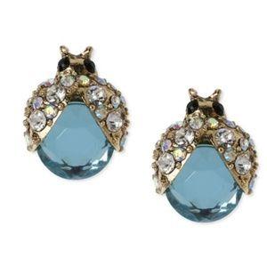 Betsey Johnson Gold-Tone Crystal Bug Stud Earrings